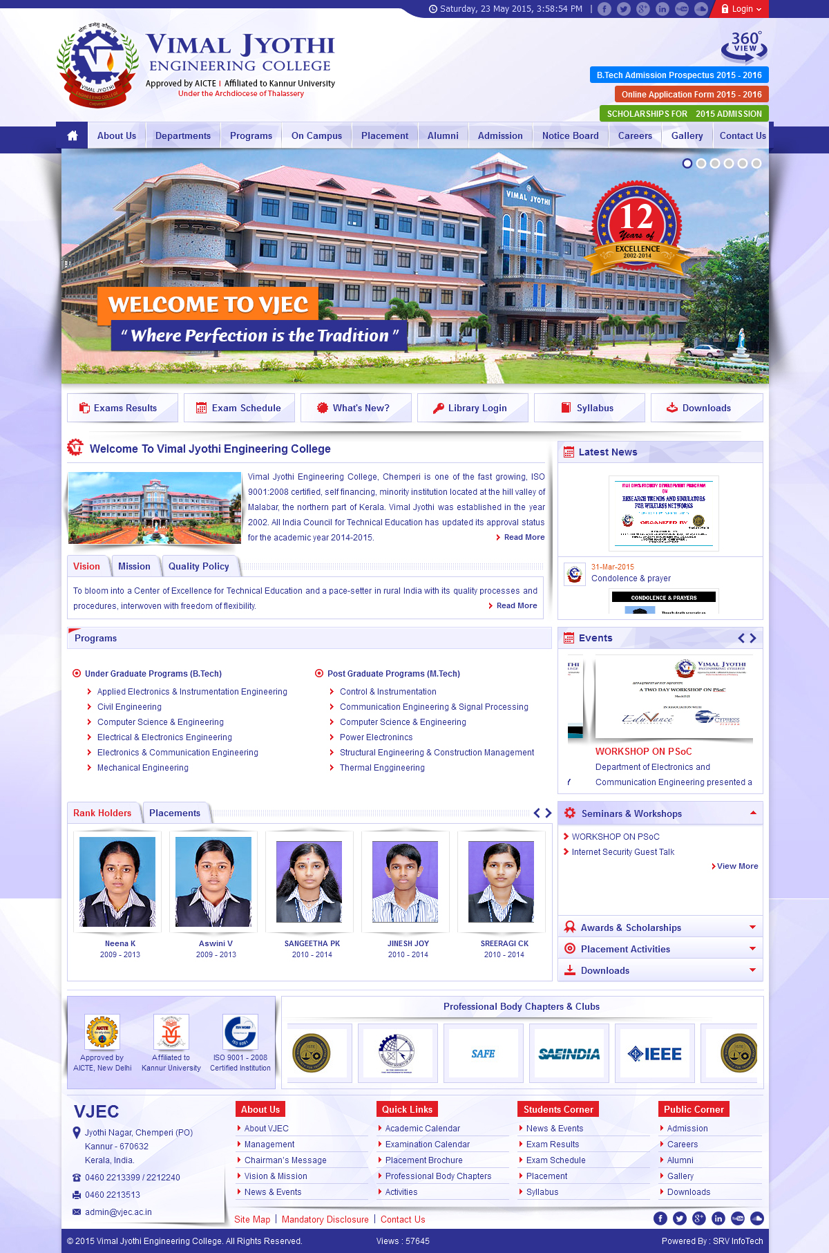 Vimal Jyothi Engineering College - SRV InfoTech Project